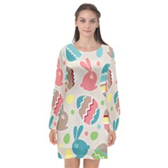 Easter Rabbit Bunny Rainbow Long Sleeve Chiffon Shift Dress