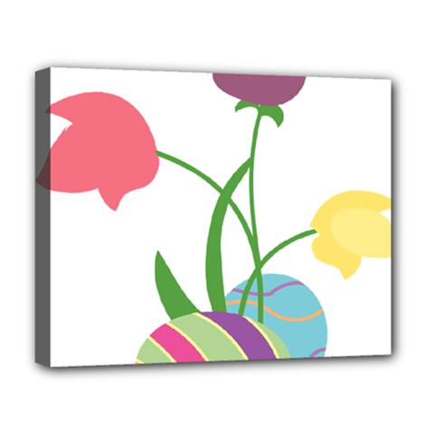 Eggs Three Tulips Flower Floral Rainbow Deluxe Canvas 20  X 16   by Mariart