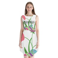 Eggs Three Tulips Flower Floral Rainbow Sleeveless Chiffon Dress   by Mariart