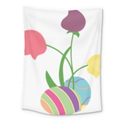 Eggs Three Tulips Flower Floral Rainbow Medium Tapestry by Mariart
