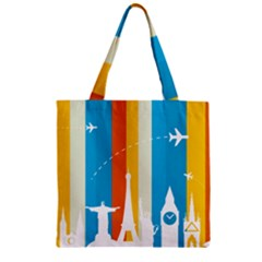 Eiffel Tower Monument Statue Of Liberty Zipper Grocery Tote Bag