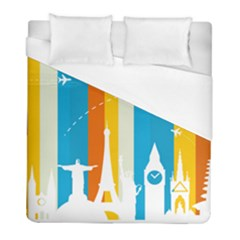 Eiffel Tower Monument Statue Of Liberty Duvet Cover (full/ Double Size) by Mariart