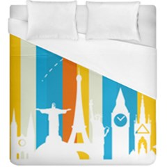 Eiffel Tower Monument Statue Of Liberty Duvet Cover (king Size) by Mariart