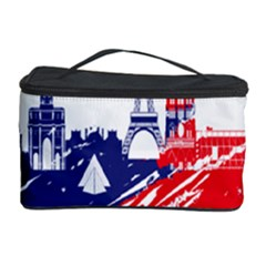 Eiffel Tower Monument Statue Of Liberty France England Red Blue Cosmetic Storage Case by Mariart