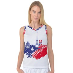 Eiffel Tower Monument Statue Of Liberty France England Red Blue Women s Basketball Tank Top