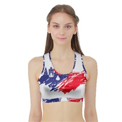 Eiffel Tower Monument Statue Of Liberty France England Red Blue Sports Bra With Border by Mariart