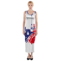 Eiffel Tower Monument Statue Of Liberty France England Red Blue Fitted Maxi Dress by Mariart
