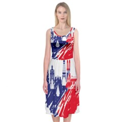 Eiffel Tower Monument Statue Of Liberty France England Red Blue Midi Sleeveless Dress by Mariart