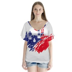 Eiffel Tower Monument Statue Of Liberty France England Red Blue Flutter Sleeve Top