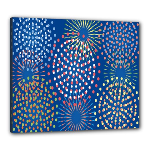 Fireworks Party Blue Fire Happy Canvas 24  X 20  by Mariart