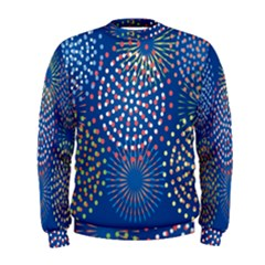 Fireworks Party Blue Fire Happy Men s Sweatshirt by Mariart