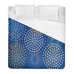 Fireworks Party Blue Fire Happy Duvet Cover (full/ Double Size) by Mariart