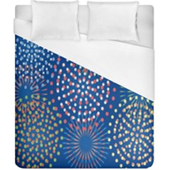 Fireworks Party Blue Fire Happy Duvet Cover (california King Size) by Mariart