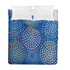 Fireworks Party Blue Fire Happy Duvet Cover Double Side (full/ Double Size) by Mariart