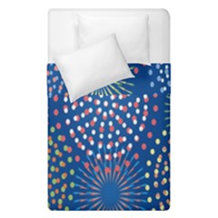 Fireworks Party Blue Fire Happy Duvet Cover Double Side (single Size)