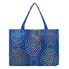 Fireworks Party Blue Fire Happy Medium Tote Bag by Mariart