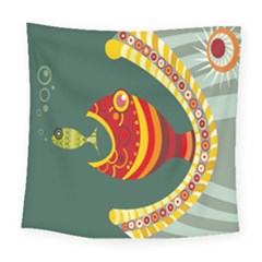 Fish Predator Sea Water Beach Monster Square Tapestry (large) by Mariart