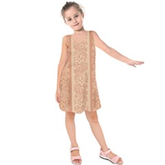 Flower Floral Leaf Frame Star Brown Kids  Sleeveless Dress by Mariart