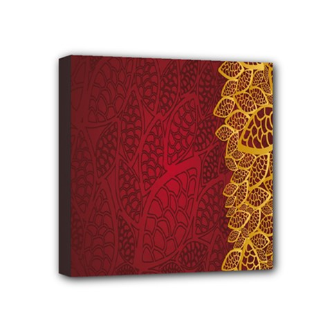 Floral Flower Golden Red Leaf Mini Canvas 4  X 4  by Mariart