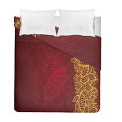 Floral Flower Golden Red Leaf Duvet Cover Double Side (full/ Double Size) by Mariart