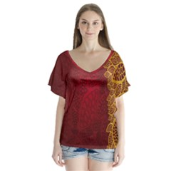 Floral Flower Golden Red Leaf Flutter Sleeve Top