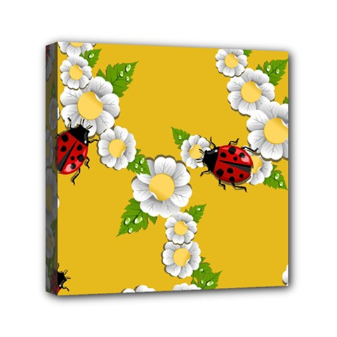Flower Floral Sunflower Butterfly Red Yellow White Green Leaf Mini Canvas 6  X 6  by Mariart