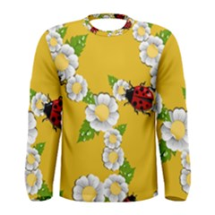 Flower Floral Sunflower Butterfly Red Yellow White Green Leaf Men s Long Sleeve Tee