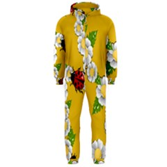 Flower Floral Sunflower Butterfly Red Yellow White Green Leaf Hooded Jumpsuit (men)  by Mariart