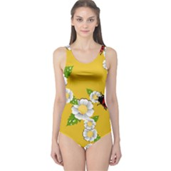 Flower Floral Sunflower Butterfly Red Yellow White Green Leaf One Piece Swimsuit by Mariart
