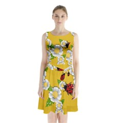 Flower Floral Sunflower Butterfly Red Yellow White Green Leaf Sleeveless Waist Tie Chiffon Dress by Mariart