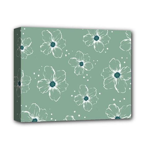 Flower Floral Sakura Sunflower Rose Blue Deluxe Canvas 14  X 11  by Mariart