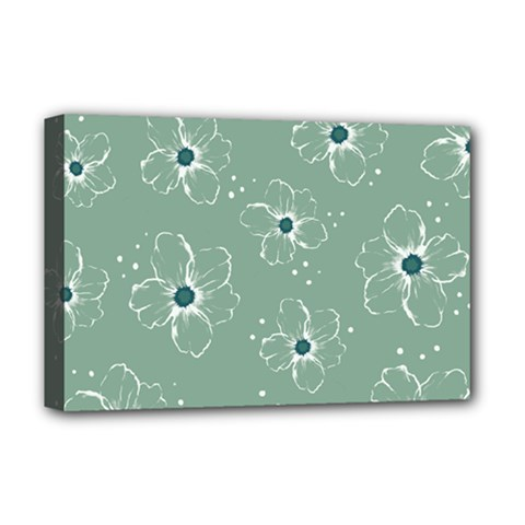 Flower Floral Sakura Sunflower Rose Blue Deluxe Canvas 18  X 12   by Mariart