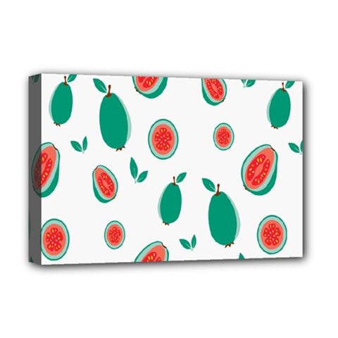 Fruit Green Red Guavas Leaf Deluxe Canvas 18  X 12   by Mariart