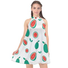 Fruit Green Red Guavas Leaf Halter Neckline Chiffon Dress