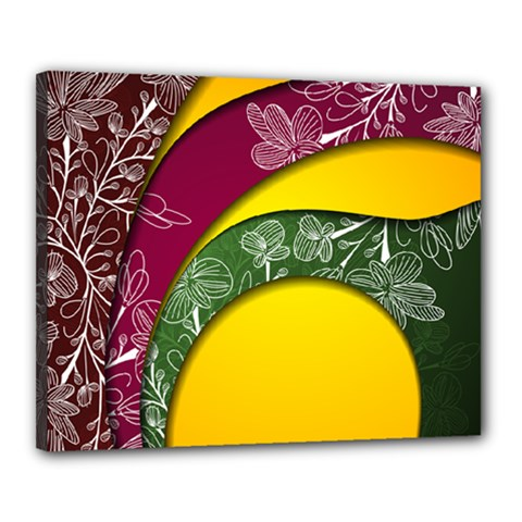 Flower Floral Leaf Star Sunflower Green Red Yellow Brown Sexxy Canvas 20  X 16  by Mariart