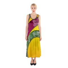 Flower Floral Leaf Star Sunflower Green Red Yellow Brown Sexxy Sleeveless Maxi Dress by Mariart