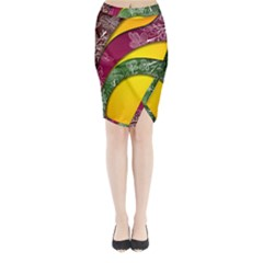 Flower Floral Leaf Star Sunflower Green Red Yellow Brown Sexxy Midi Wrap Pencil Skirt