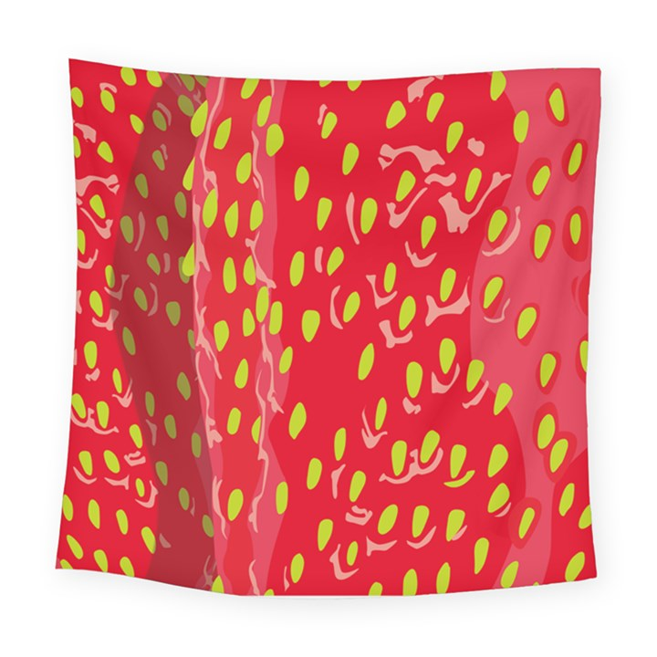 Fruit Seed Strawberries Red Yellow Frees Square Tapestry (Large)