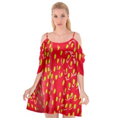 Fruit Seed Strawberries Red Yellow Frees Cutout Spaghetti Strap Chiffon Dress