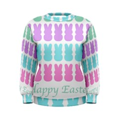 Happy Easter Rabbit Color Green Purple Blue Pink Women s Sweatshirt by Mariart