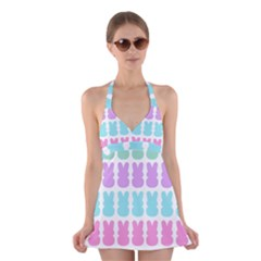 Happy Easter Rabbit Color Green Purple Blue Pink Halter Swimsuit Dress by Mariart