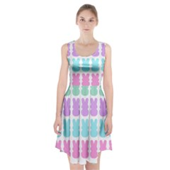 Happy Easter Rabbit Color Green Purple Blue Pink Racerback Midi Dress by Mariart
