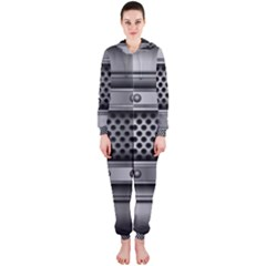 Iron Content Hole Mix Polka Dot Circle Silver Hooded Jumpsuit (ladies)  by Mariart