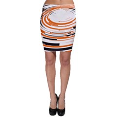 Hole Black Orange Arrow Bodycon Skirt by Mariart