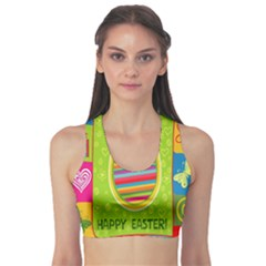 Happy Easter Butterfly Love Flower Floral Color Rainbow Sports Bra by Mariart