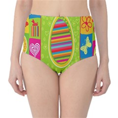 Happy Easter Butterfly Love Flower Floral Color Rainbow High Waist Bikini Bottoms by Mariart