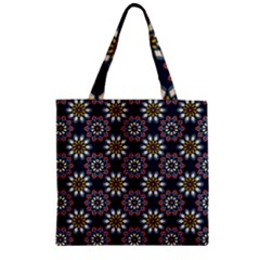 Floral Flower Star Blue Zipper Grocery Tote Bag by Mariart