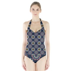 Floral Flower Star Blue Halter Swimsuit by Mariart