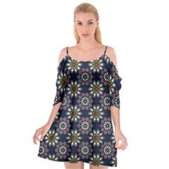 Floral Flower Star Blue Cutout Spaghetti Strap Chiffon Dress by Mariart