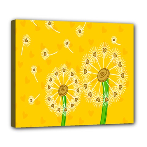 Leaf Flower Floral Sakura Love Heart Yellow Orange White Green Deluxe Canvas 24  X 20   by Mariart